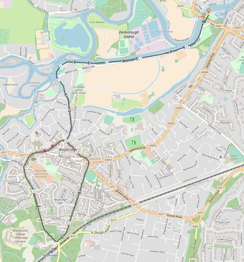 Weybridge 10K Route 2018