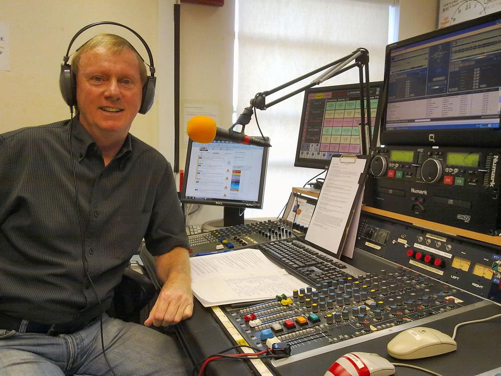 Brooklands Radio Presenter Trevor James In The Studio In Church Street Weybridge Surrey