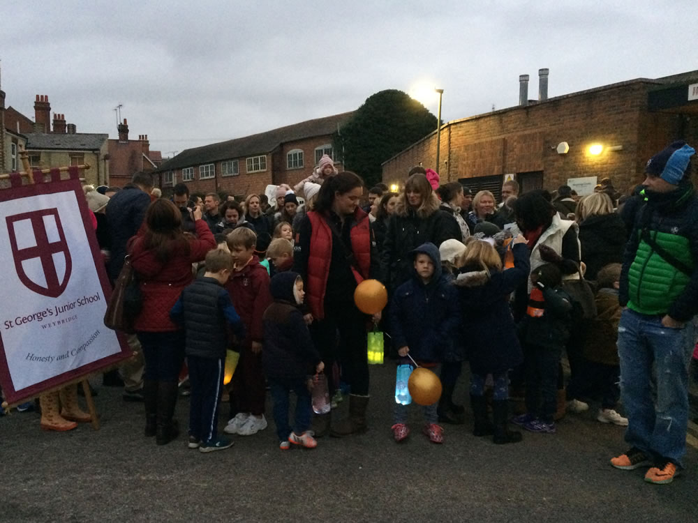 St Georges College Children ready to parade Christmas Lanterns at Weybridge Community Centre