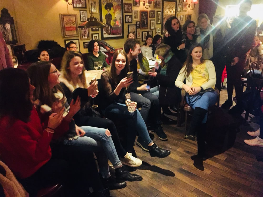 Students and Staff from WISE English Language School at Social Night at Café Rouge Queens Road Weybridge