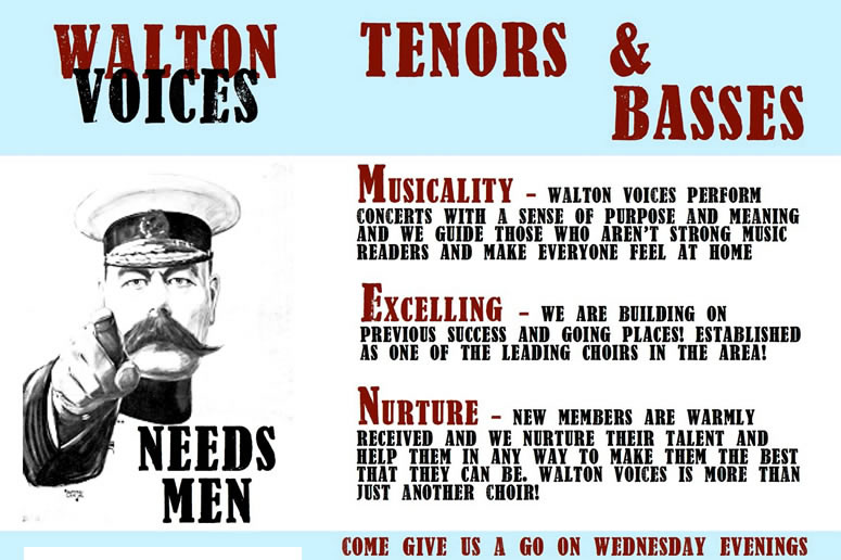 Tenors and Bass Singers needed at Walton Voices Choir in Waltonon-Thames Elmbridge - Rehearsals at Grovelands Primary School