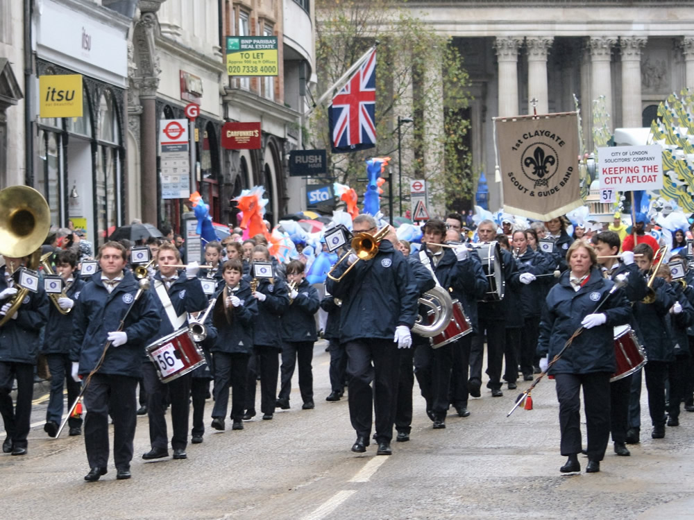 1st Claygate Scouts and Guides Band Parading and Playing in London