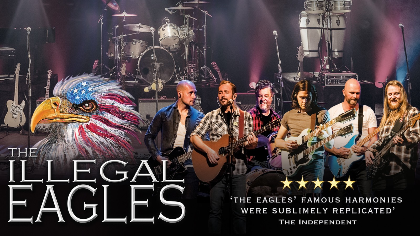 Illegal Eagles Tribute Band in Concert at Woking Surrey playing at the New VIctoria Theatre as part of UK Tour