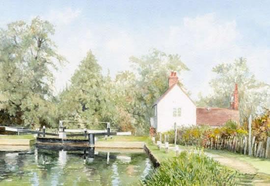 Triggs Lock Wey Canal Painting by Woking Surrey Artist David Drury