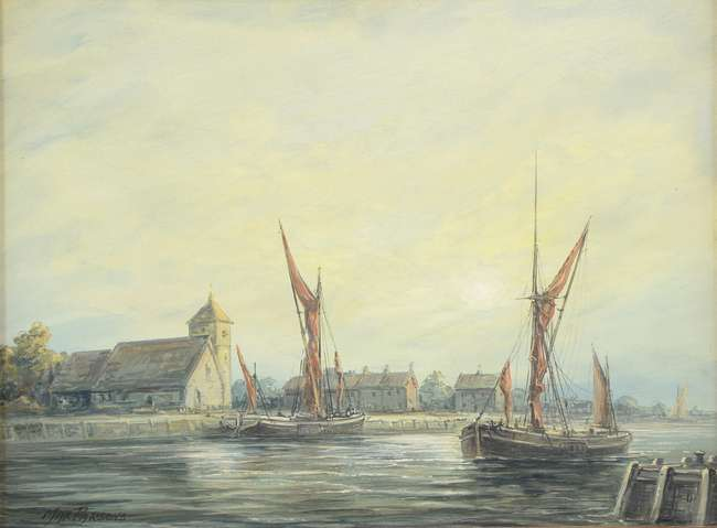 Art Antiques Auction: Max Parsons (1915-1998), sailing barges, oil on board, signed Painting