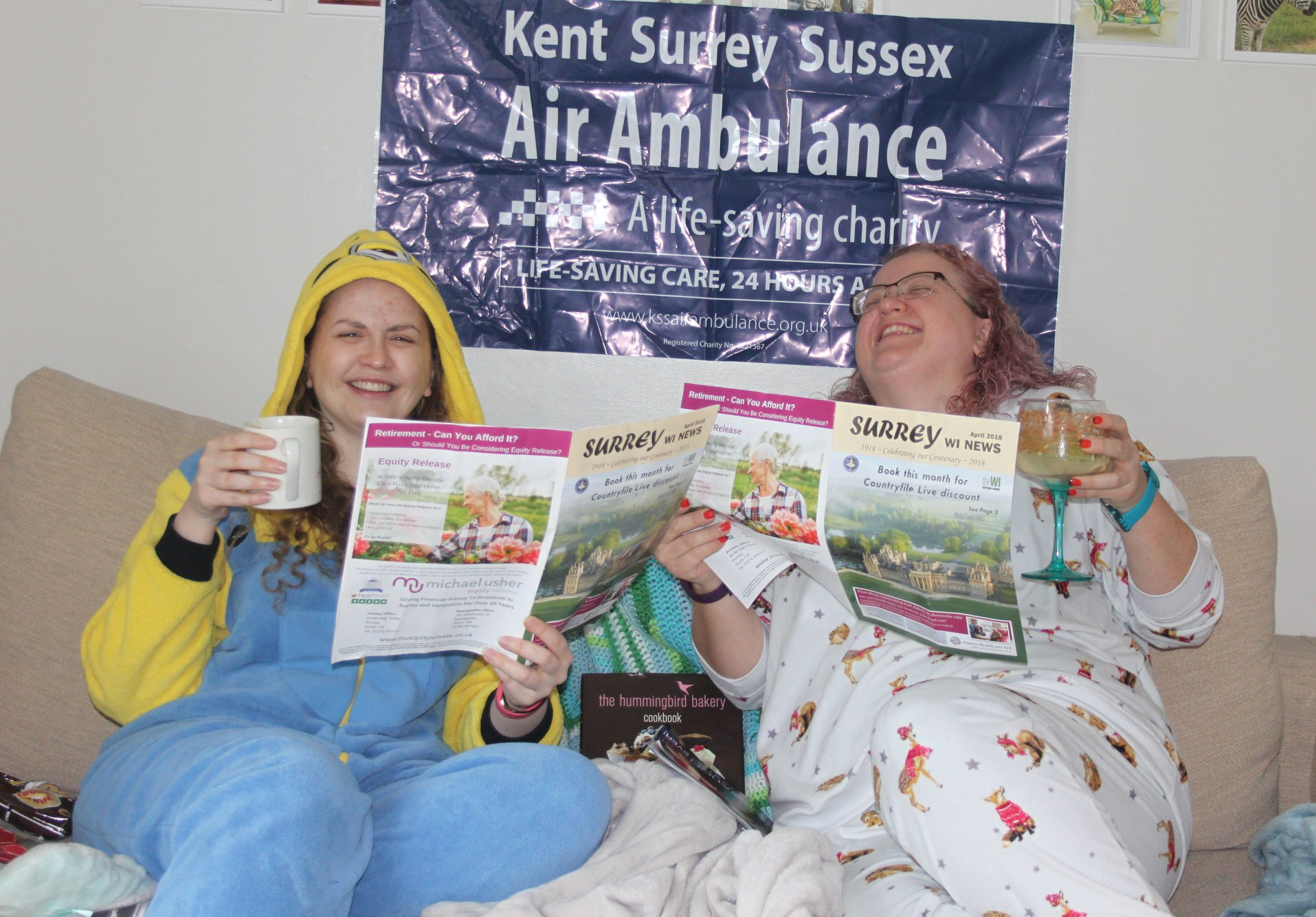 President and Vice-President of Weybridge WI, Sports Challenge Fundraiser for Kent, Surrey, Sussex Air Ambulance' (KSSAA) their Charity of the Year