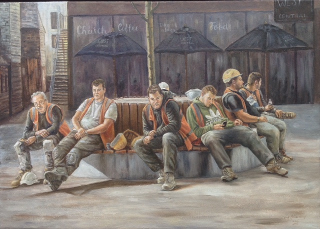 BreakTime - The Lightbox Art Gallery - Woking Society of Arts Exhibition - Painting Highly Commended