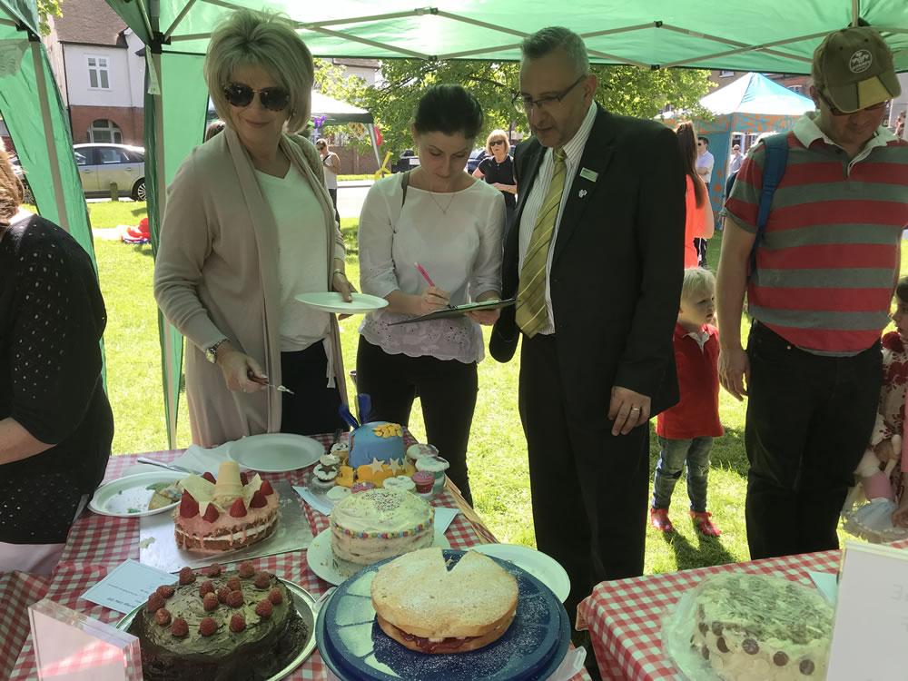 Cake Judges Ruth Langsford Gemma Woods of The Kitchen Shop Weybridge and Robert Navarro of Waitrose