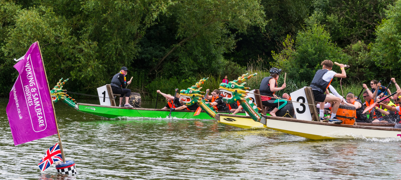 Dragon Boat Race at Goldsworth Park - Charity event for Woking & Sam Beare Hospices Surrey