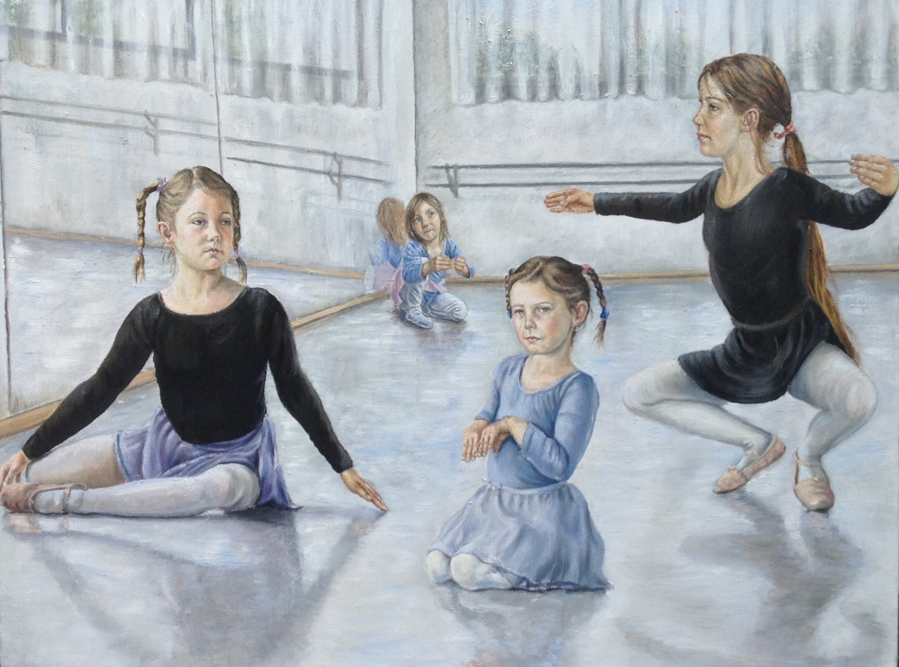 Group Portrait Painting of Girls playing and dancing - The Proges Sisters - Oil on canvas