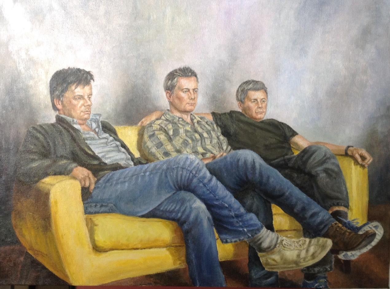 Group portrait painting commision of men - Brothers on Sofa - Weybridge Surrrey Art Advertising
