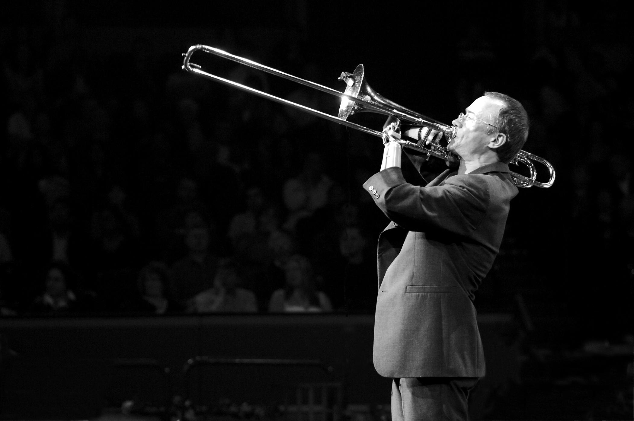 Jazz Trumbone - Mark-Bassey (photo Ryan Marshall) will be playing at Imber Court East Molesey Surrey - Monthly Elmbridge Jazz Evenings