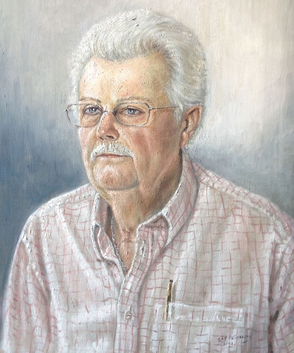 Portrait Painting Commission of man- John- Ideal personalised gifts - Weybridge Surrey Artists Advertising