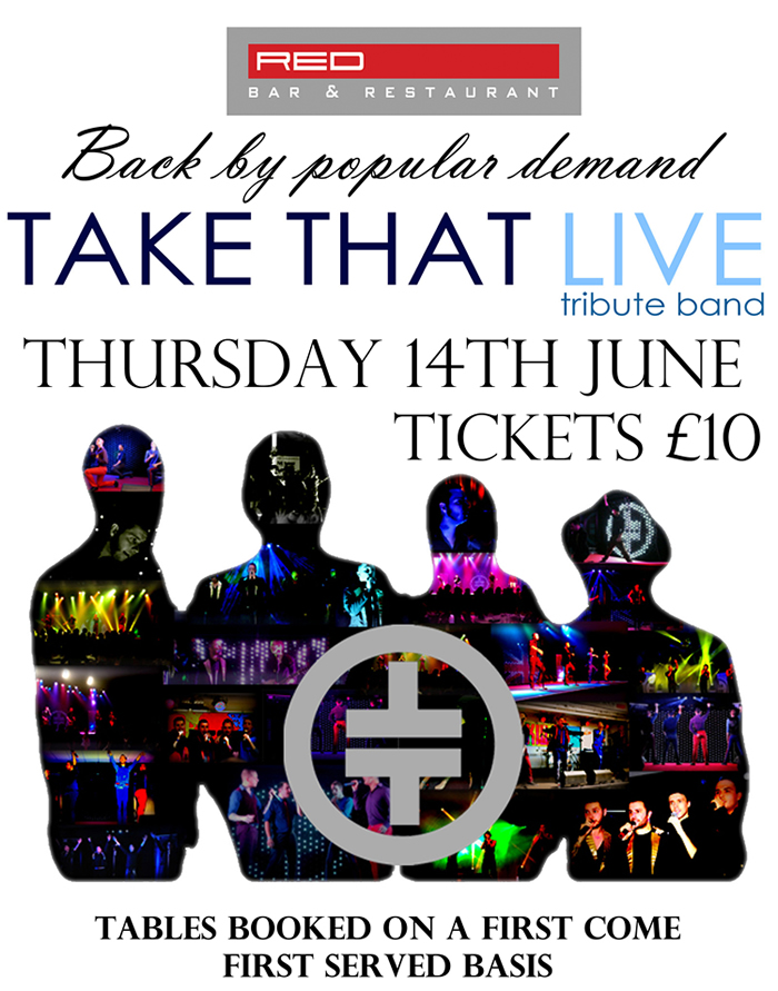 Take That Tribute Band Performing at Red Bar and Restaurant Weybridge 2018