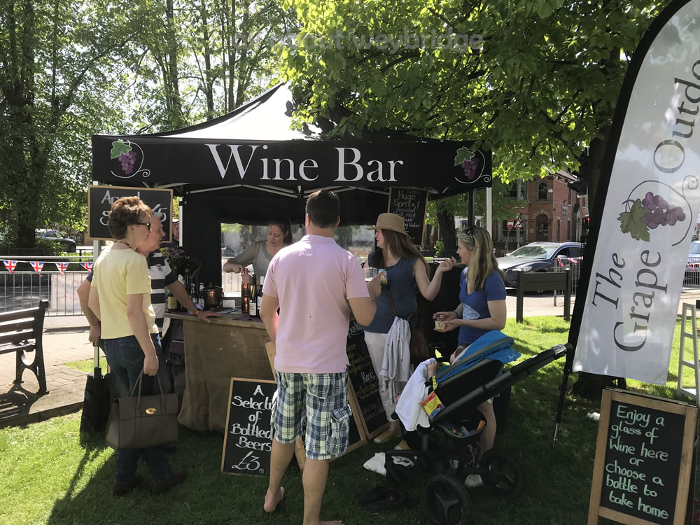 The Grape Outdoors - Mobile Wine Bar from Molesey Hampton Court Surrey - Stall at Weybridge Market