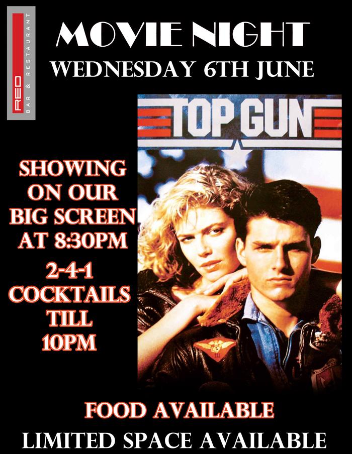 Top Gun Movie Showing at Red Bar & Restaurant Weybridge Surrey