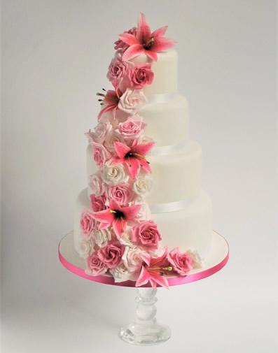 Cascade pink lily Wedding Cake for Hersham Surrey Wedding