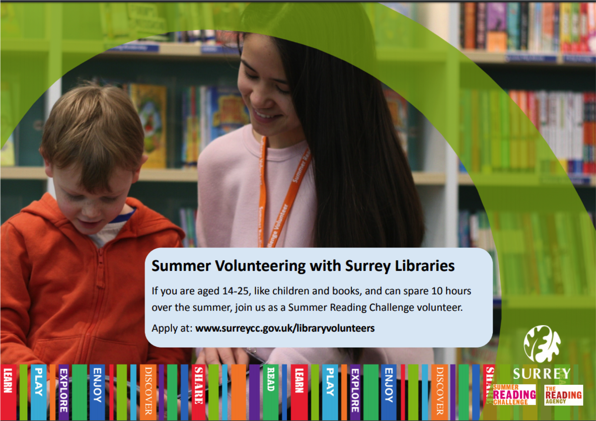 Summer Volunteering at Weybridge Library and other Surrey Libraries