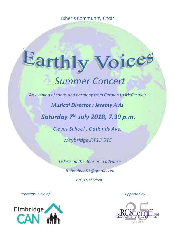 Earthly Voices Choir from Esher - July 2018 Concert at Cleves School, Oatlands Village between Walton on Thames and Weybridge Surrey