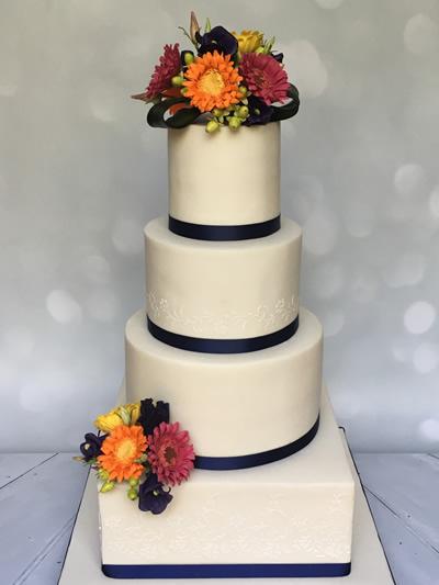 Floral bright gerbera Wedding Cake for Cobham Wedding