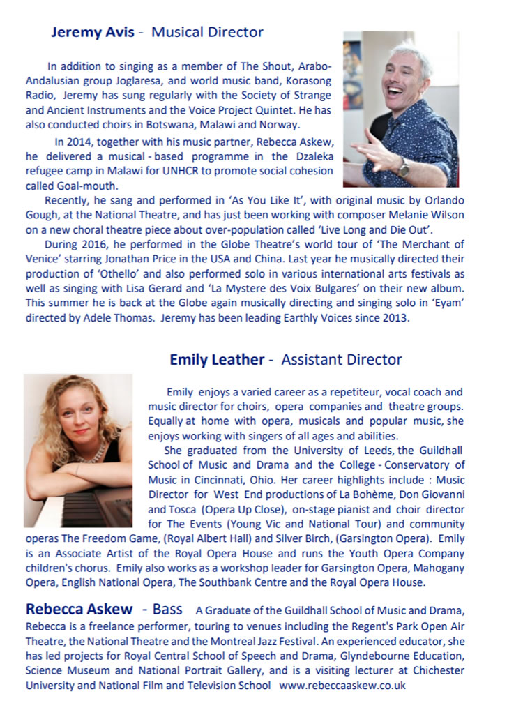 Musical Director Jeremy Avis, Assistant Director Emily Leather, Bass Rebecca Askew - Earthly Voices Summer Concert 2018 Programme
