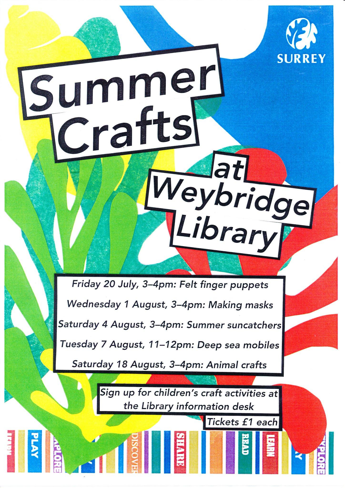 Summer crafts at Weybridge Library